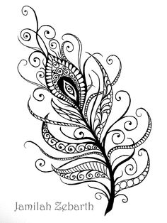 take on a popular feather motif, zentangle inspired. My take on a popular feather motif, zentangle inspired. Feather Drawing, Feather Art, Feather Tattoos, Body Art Tattoos, Mandala Feather, Mandala Art, Mandala Tattoo Design, Tattoo Designs, Phenix Tattoo