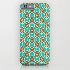 Leafage iPhone & iPod Case by All Is One #iphonecase #case #cases #iphonecases #pattern #design #leaves #pretty #turquoise #ipodcase #cute #gift #gifts