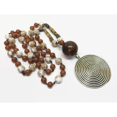Brown Handknotted Necklace, Boho Hand Knotted Bead Necklace, Long... ($35) ❤ liked on Polyvore featuring jewelry, necklaces, marble pendant necklace, bohemian necklaces, wooden bead necklaces, beading necklaces and brown necklace
