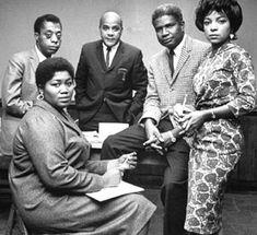This is Black power: (left to right) folk singer Odetta (Holmes), writer James Baldwin, writer Ralph Ellison, actor Ossie Davis & actress Ruby Dee