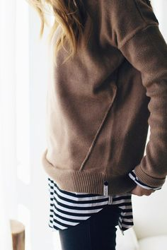 Camel sweater, striped layer