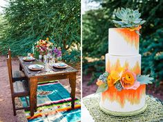 The sunset hues of this bold bohemian wedding cake perfectly compliment the gold accents + bright floral design in the tablescape.