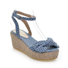 AmoonyFashion Women's Polka-Dots Blend Materials High Heels Open Toe Platforms and Wedges -- You can find more details by visiting the image link. (This is an affiliate link and I receive a commission for the sales)