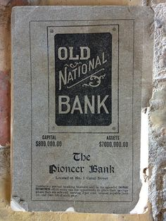 Ad for Old National Bank, 1 Canal Street - 1909