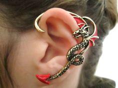 Red wing dragon ear cuff wrap gothic dragon jewelry by StylesBiju, $16.90