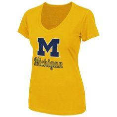 Michigan Wolverines Ladies Vegas V-Neck T-Shirt - Maize