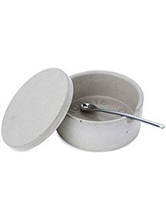 Concrete Salt Keeper with Spoon ❤ ...