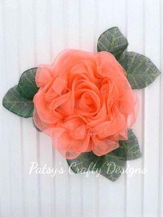 Rose Wreath, Summer Wreath, Spring Wreath, Peach Rose Wreath, Mesh Wreath, Deco Mesh Rose Wreath, Mesh Wreath, Mesh Rose Wreath by PatsysCraftyDesigns on Etsy https://www.etsy.com/listing/585521412/rose-wreath-summer-wreath-spring-wreath