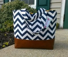 navy chevron diaper bag,  Bag with leather bottom, tote bag, navy canvas with leather, Everything Bag, Zig Zag,