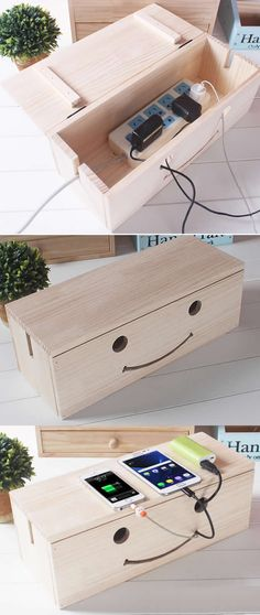 Wooden Cable Cord Organizer Box CableBox Cable Management System