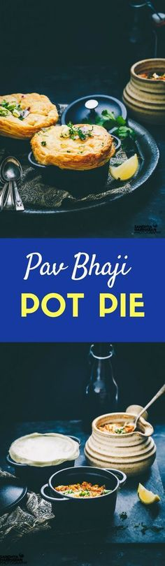 Pav Bhaji Pot Pie is a thriller street food combination of Pav bhaji ( Vegetable Medley) along with a crust of golden brown pastry. They work great as starters! Indian Potato Recipes, Indian Food Recipes, Asian Recipes, Vegetarian Recipes, Vegetarian Lunch, Cast Iron Casserole Dish, Vegetable Medley, Pav Bhaji, Good Food