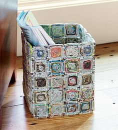 Recycled Paper Basket Versatile Eco Basket This multi-purpose container is crafted of recycled magazines and newspapers! Recycled Magazine Crafts, Recycled Paper Crafts, Recycled Magazines, Recycled Crafts, Recycled Materials, Recycled Jewelry, Handmade Crafts, Handmade Rugs, Recycle Newspaper