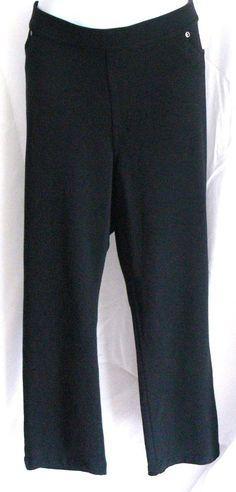 Susan Graver Cotton Spandex Black Pants Elastic Waist Leggings A255911 Sz XLP #SusanGraver #Pantsleggings