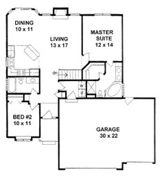 Traditional Style House Plan - 2 Beds 2 Baths 1112 Sq/Ft Plan #58-168 Floor Plan - Main Floor Plan - Houseplans.com