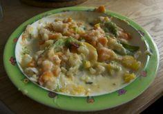 DSC 00231 300x212 En delikatesse: Lettsaltet torsk med bacon og gulrotstuing Cheeseburger Chowder, Bacon, Soup, Soups, Pork Belly