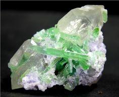 222 cts Unique Paraiba Green Color TOURMALINE Crystals w/ QUARTZ & Lapidolite