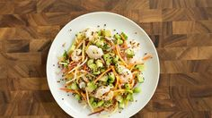 Try this hearty Asian-inspired shrimp and carrot slaw