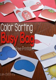 This printable matching color busy bag is the perfect activity for when you need some peace, but don't want to spend a lot of time prepping. Your toddlers will love this sorting color busy bag! Try this free printable busy bag with your preschooler! Quiet Time Activities, Preschool Learning Activities, Indoor Activities For Kids, Toddler Learning, Infant Activities, Toddler Preschool, Toddler Games, Family Activities, Preschool Ideas