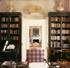 library by Hugh Henry of Mlinaric Love the purple check on the chair!