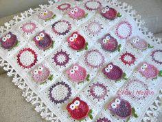 Owl Blanket Crochet Pattern Fantasy Newborn Baby by MariMartin Crochet Afghans, Crochet Owl Blanket, Crochet Owls, Crochet Granny, Crochet Blanket Patterns, Crochet Crafts, Crochet Baby, Crochet Projects, Sewing Crafts
