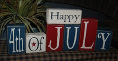 Happy 4th Of July Fireworks Big Beautiful Set...Americana Decor Summer Wood Sign Shelf Blocks Primitive Country Rustic Home Decor Gift. $38.95, via Etsy.
