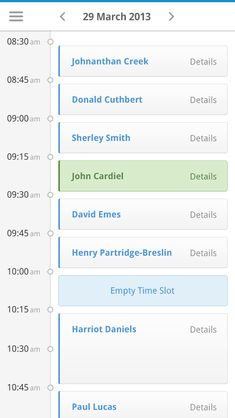 Clinical Dashboard - Appointments (Mobile)  by Andrew Lucas