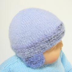 Bonnet bébé bleu très doux avec cache-oreilles 1 à 3 mois Tricotmuse : Mode Bébé par tricotmuse