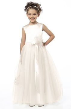 0082f51492 Dessy Collection Sleeveless Satin  amp  Tulle Flower Girl Dress. A  handcrafted flower at the