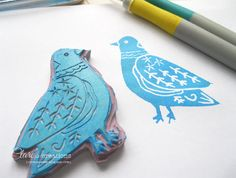 Folk Art Birds and a Hand-carved Stamp #handcarvedstamps, #stamping, #birdstamp, #birds, #folkart.