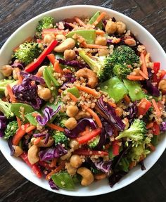 Asian Chickpea Salad A hearty gluten-free and plant-based entree or side salad with great crunch and a Tangy Miso Ginger Dressing. Very versatile and adaptable to tastes. Perfect for feeding a crowd or meal prep. Chickpea Salad Recipes, Vegetarian Recipes, Healthy Recipes, Vegan Vegetarian, Healthy Salads, Meal Prep Salads, Dinner Salad Recipes, Healthy Foods, Roasted Chickpea Salad