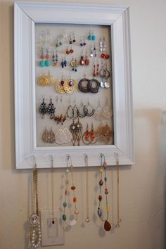 Maybe put burlap in front of screen  Perfect for my stud earrings too Add more hooks on sides or top for rings