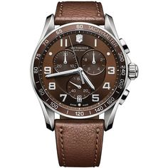 Victorinox Swiss Army Mens Classic XLS Stainless Steel and Leather... ($625) ❤ liked on Polyvore featuring men's fashion, men's jewelry, men's watches, brown, mens brown leather watches, mens leather watches, mens chronograph watch and mens blue dial watches