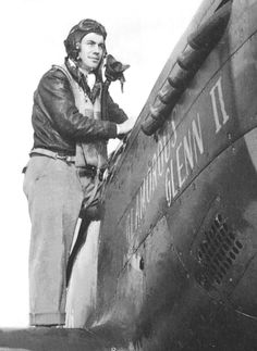 """Second Lieutenant Charles E. (""""Chuck"""") Yeager, U.S. Army Air Forces, standing on the wing of his North American Aviation P-51D-5-NA Mustang, 44-13897, Glamorous Glenn II, at Air Station 373, 12 October 1944. (U.S. Air Force)"""