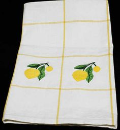 lemon kitchen decor | Embroidered Lemon Kitchen Dish Towel