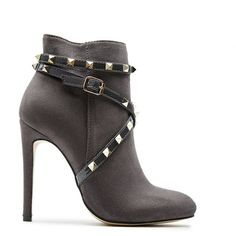 Harper Grey Suede Studded Strap Heeled Ankle Boots ❤ liked on Polyvore featuring shoes, boots, ankle booties, short boots, gray ankle boots, stiletto bootie, studded ankle boots and strappy ankle boots