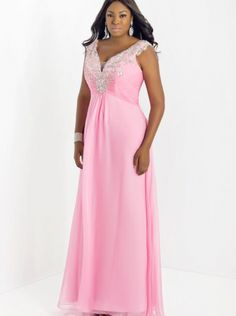 1da8415299 Sexy V-neck Pink Chiffon Floor Length Formal Dress Evening Dress Plus Size  Prom Dress Too