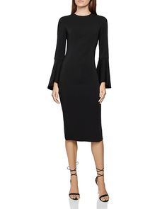 Reiss Annie Bell Sleeve Bodycon Dress In Black Bodycon Dress With Sleeves, Black Bodycon Dress, Dress Black, Party Dresses For Women, Dresses For Work, Reiss Fashion, Designer Cocktail Dress, Bell Sleeves, My Style