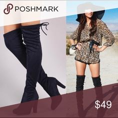 ☀️NEW☀️P Over-the-Knee Boots black Black. Drawstring at leg opening. Faux suede. Pull on. No zipper. Fit may run a half size small. As with all merchandise, seller not responsible for fit nor comfort. Brand new boutique retail w/o tag. No trades, no off App transactions. SHIPS THURSDAY-FRIDAY  ❗️PRICE IS FIRM UNLESS BUNDLED❗️ Leoninus Shoes Over the Knee Boots