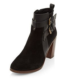 Black Premium Leather Buckle Strap Block Heel Ankle Boots  | New Look