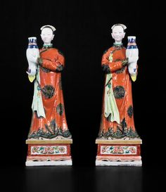 PAIR OF CHINESE PORCELAIN MAIDENS WITH NODDING HEADS, c. 1745 : The British Antique Dealers' Association