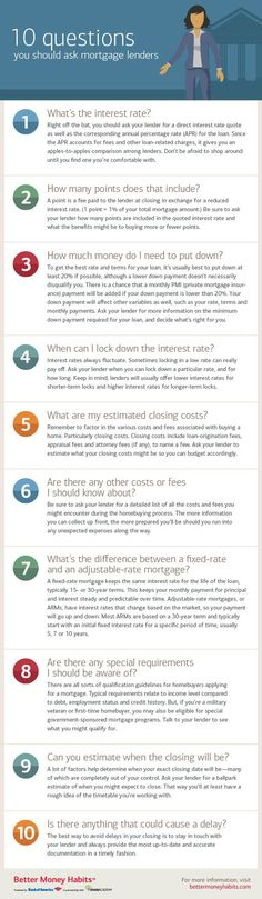 Learn 10 questions to ask your mortgage lender with the tips and insights offered in this infographic from Better Money Habits. Learn 10 questions to ask your mortgage lender with the tips and insights offered in this infographic from Better Money Habits. Home Buying Tips, Home Buying Process, Dave Ramsey, Mortgage Tips, Mortgage Calculator, Mortgage Payment, Online Mortgage, Mortgage Quotes, Mortgage Humor