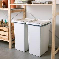 Ikea Kitchen Cabinets, Kitchen Cabinet Drawers, Kitchen Storage, Kitchen Bins, Kitchen Ideas, Recycling Storage, Can Storage, Storage Bins With Lids, Storage Rack