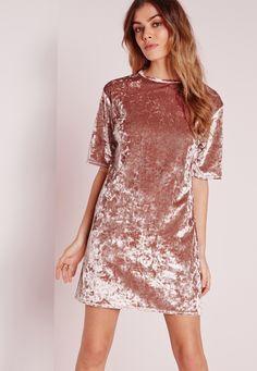 Missguided - Oversized Crushed Velvet T-Shirt Dress Pink