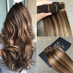 #Sunny #Dip and Dye Ombre Clip in Human Hair #Extension 22 Inches Remy Full Head Brown to Blonde Remy Clip in  Full review at: http://toptenmusthave.com/best-human-hair-extensions/