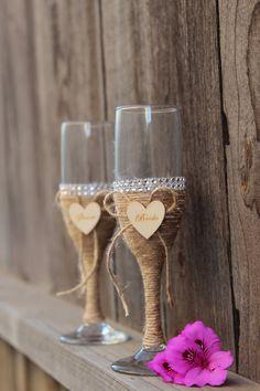 Handmade Rustic Wedding Champagne Glasses for by LotusenFlower