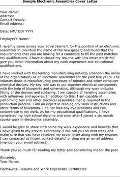 Electronic Assembly Resume Electronic Assembler Cover Letter Cover Letter Sample Lettering Cover Letter Format