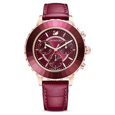 Octea Lux Chrono Watch, Leather strap, Red, Rose-gold tone PVD | Swarovski.com Swarovski Uk, Swarovski Watches, Swarovski Gifts, Swarovski Jewelry, Swarovski Crystals, Swan Logo, Rose Gold, Crystal Ring, Faceted Crystal