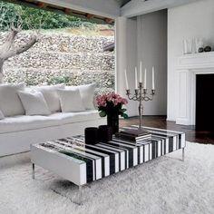 Black white stripe coffee table. LOVE