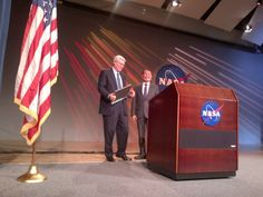 Gave a speech at Lyndon B. Johnson Space Center in Houston yesterday. Here I am with Dir. Michael L. Coats. Quite a day! Lifted weights with Robonaut 2, drove the Rover, ate astronaut food for lunch, and visited Mission Control Center. Brad and I loved the visit.