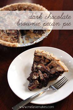 Dark Chocolate Brownie Pecan Pie | @melaniebauer at Melanie Makes
